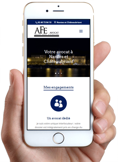 Site AFE Avocat, version mobile