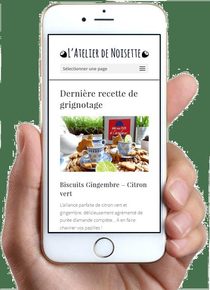 Site L'Atelier de Noisette, version mobile