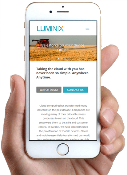 Site Luminix, version mobile