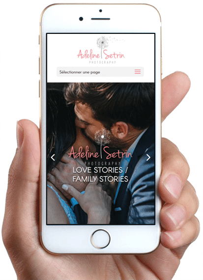 Site de Adeline Setrin Photography, version mobile