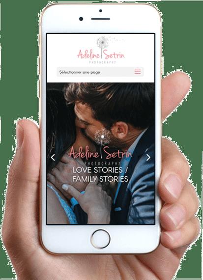 Site de Adeline Setrin Photography, version mobile